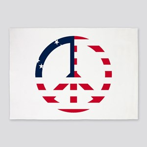 American Flag Peace Sign Betsy Ross 5'x7'Area Rug