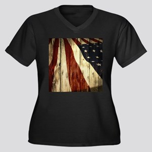 wood grain USA American flag Plus Size T-Shirt