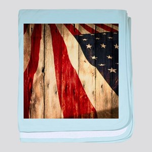 wood grain USA American flag baby blanket