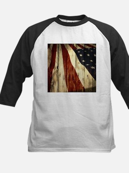 wood grain USA American flag Baseball Jersey
