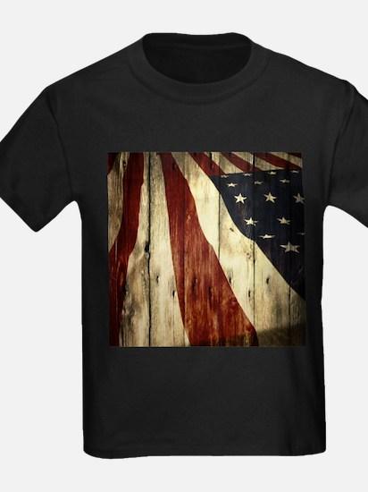 wood grain USA American flag T-Shirt