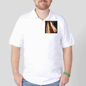 wood grain USA American flag Golf Shirt