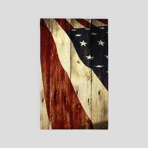 Wood Grain Usa American Flag Area Rug
