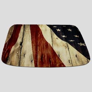 wood grain USA American flag Bathmat
