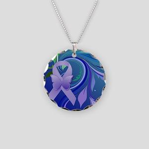 Purple Awareness Ribbon Necklace Circle Charm