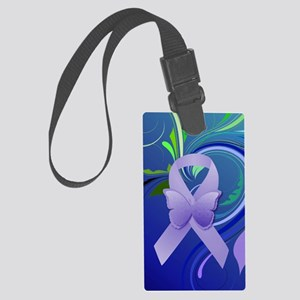 Purple Awareness Ribbon Large Luggage Tag