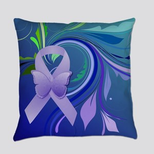 Purple Awareness Ribbon Everyday Pillow