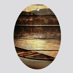 rustic country lake canoe Ornament (Oval)