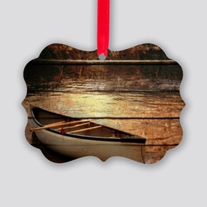 rustic country lake canoe Picture Ornament