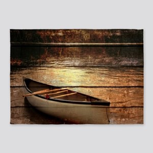 rustic country lake canoe 5'x7'Area Rug