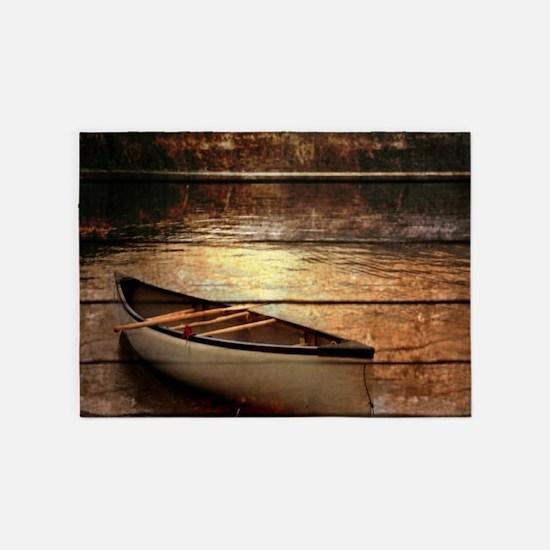 rustic country lake canoe 5'x7'Area Rug