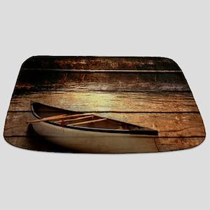 rustic country lake canoe Bathmat