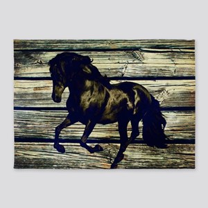 barn wood black horse 5'x7'Area Rug