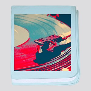 vintage retro record player baby blanket