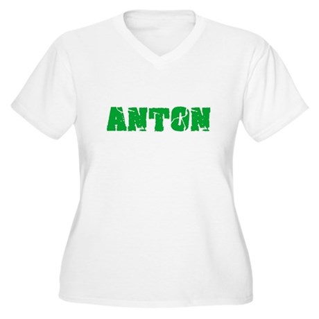 Anton Name Weathered Green Desig Plus Size T-Shirt