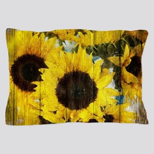western country yellow sunflower Pillow Case