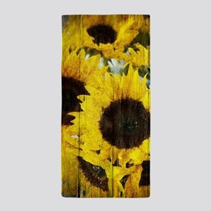 western country yellow sunflower Beach Towel