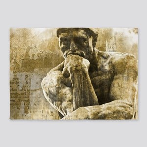 Impressionism sculpture The Thinker 5'x7'Area Rug