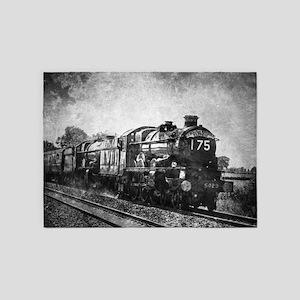 rustic vintage steam train 5'x7'Area Rug