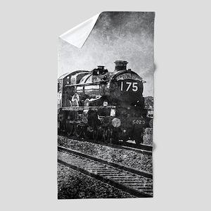 rustic vintage steam train Beach Towel