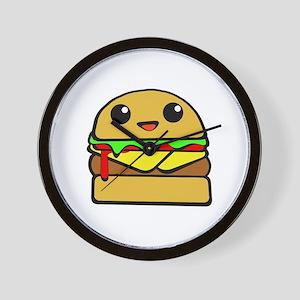 kawaii cheeseburger  Wall Clock