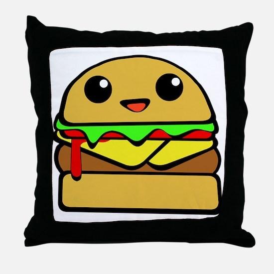 kawaii cheeseburger  Throw Pillow