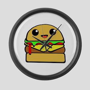 kawaii cheeseburger  Large Wall Clock