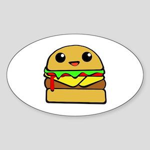 kawaii cheeseburger  Sticker (Oval)