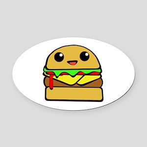 kawaii cheeseburger  Oval Car Magnet