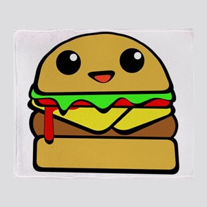 kawaii cheeseburger  Throw Blanket