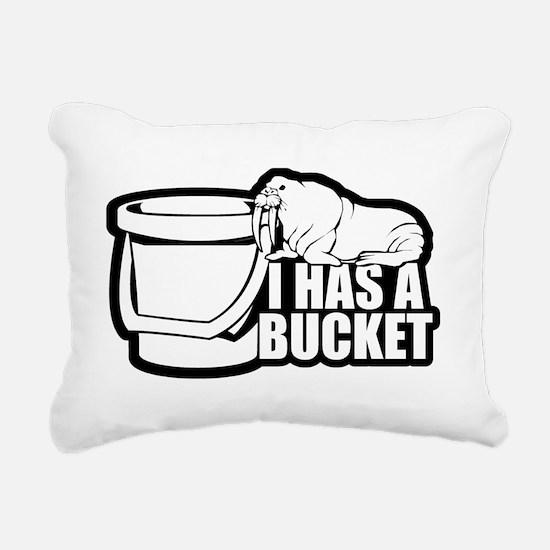 I Has a Bucket Walrus Rectangular Canvas Pillow