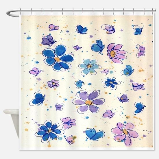 Daisies & Butterflies Shower Curtain