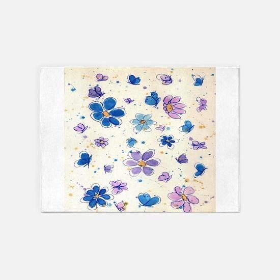 Daisies & Butterflies 5'x7'Area Rug