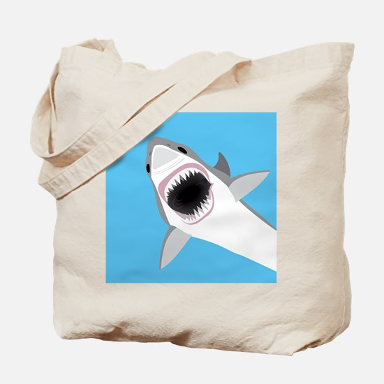 Great White Shark Leaps from Water Tote Bag