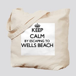 Keep calm by escaping to Wells Beach Main Tote Bag