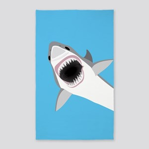 Great White Shark Leaps from Water Area Rug