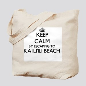 Keep calm by escaping to Ka'Ili'Ili Beach Tote Bag