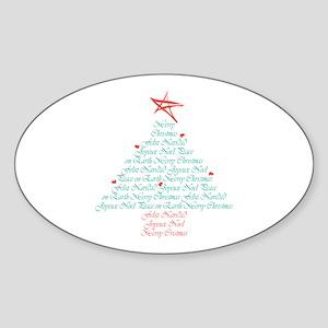 Multi Language Seasons Greetings Oval Sticker