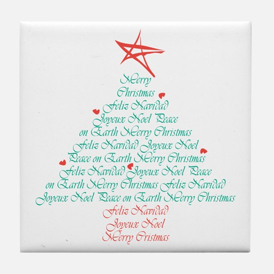 Multi Language Seasons Greetings Tile Coaster
