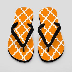 Orange: Quatrefoil Moroccan Pattern Flip Flops
