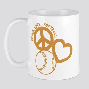 PEACE-LOVE-SOFTBALL Mug