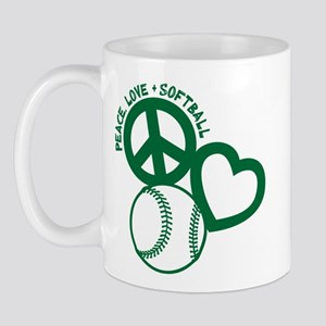 Peace-Love-Softball Mugs