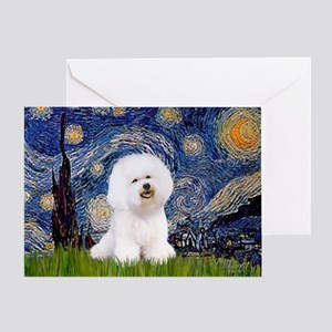 Starry Night Bichon Greeting Card