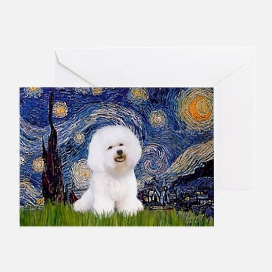 Starry Night Bichon Greeting Card