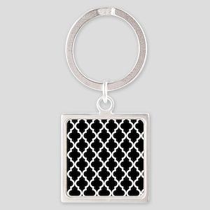 Black: Quatrefoil Moroccan Pattern Square Keychain