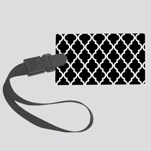 Black: Quatrefoil Moroccan Patte Large Luggage Tag