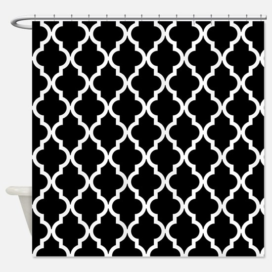 Black: Quatrefoil Moroccan Pattern Shower Curtain