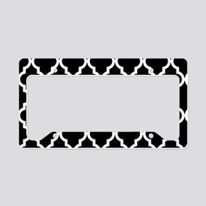 Black: Quatrefoil Moroccan Pa License Plate Holder