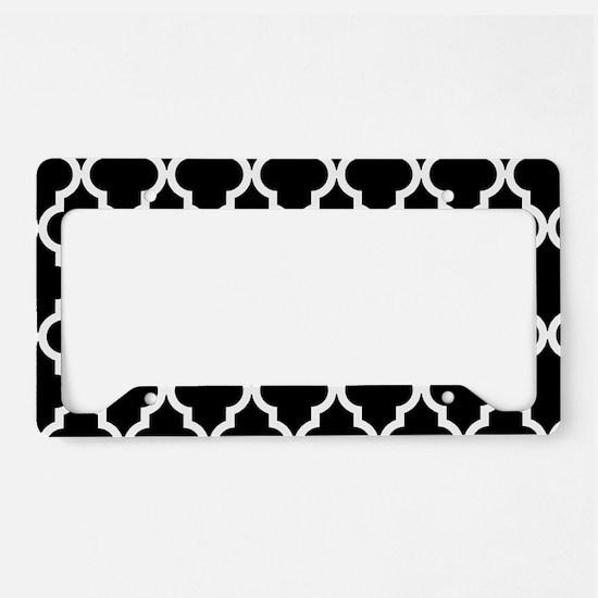 Black: Quatrefoil Moroccan Pa License Plate Holder