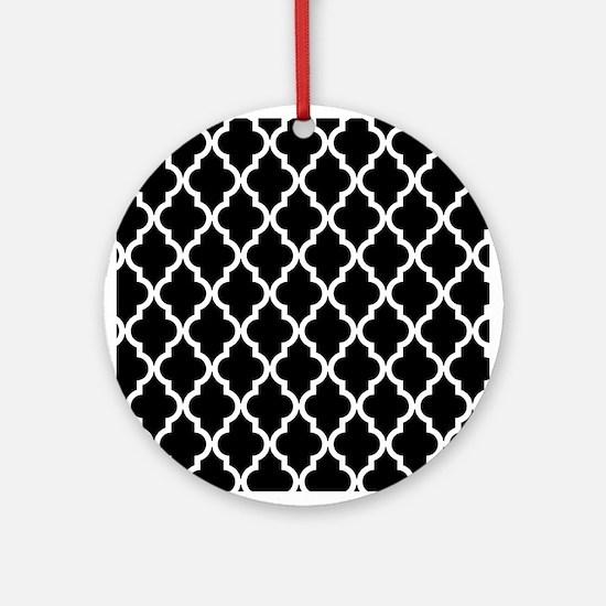 Black: Quatrefoil Moroccan Pattern Round Ornament